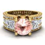 Morganite Engagement Ring for Women 7.30 mm 4.85 carat Past Present Future Style 18K Gold (G,VS) - Yellow Gold