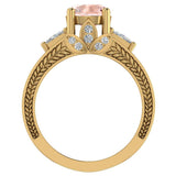 Morganite Engagement Ring for Women 7.30 mm 4.85 carat Past Present Future Style 14K Gold (I,I1) - Yellow Gold