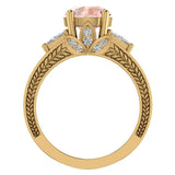Morganite Engagement Ring for Women 8.00 mm 5.35 carat Past Present Future Style 18K Gold (G,VS) - Yellow Gold