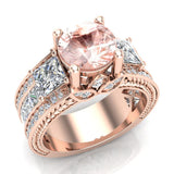 Morganite Engagement Ring for Women 7.30 mm 4.85 carat Past Present Future Style 14K Gold (I,I1) - Rose Gold