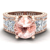 Morganite Engagement Ring for Women 8.00 mm 5.35 carat Past Present Future Style 14K Gold (I,I1) - Rose Gold