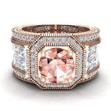 Large Morganite Engagement Ring 14K Gold Halo Rings for women 7.30 mm 6.35 carat (I,I1) - Rose Gold