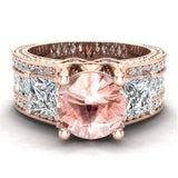 Morganite Engagement Ring for Women 7.30 mm 4.85 carat Past Present Future Style 18K Gold (G,VS) - Rose Gold