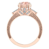 Morganite Engagement Ring for Women 8.00 mm 5.35 carat Past Present Future Style 18K Gold (G,VS) - Rose Gold