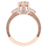 Morganite Engagement Ring for Women 7.30 mm 4.85 carat Past Present Future Style 14K Gold (G,SI) - Rose Gold
