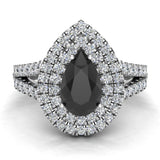 Pear Cut Black Diamond Double Halo Engagement Ring 14K Gold (G,SI) - White Gold