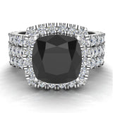 Black Diamond Cushion Cut Halo Diamond wedding rings for women 14K Gold 3.85 ctw (I,I1) - White Gold