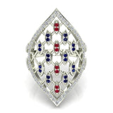 Stunning Ruby and Sapphire Marquise shaped Diamond Cocktail Ring 0.65 ctw 14K Gold (G,I1) - White Gold