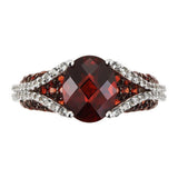 4.20 ct tw Garnet & Diamond Cut White Topaz Sterling Ring