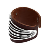 Fritz Casuse Sterling & Leather Spirit Figure Cuff