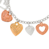 Sterling Polished Heart Design Charm Bracelet