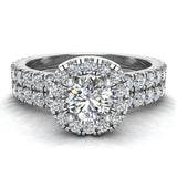 Petite Wedding rings for women Cushion Halo Round Brilliant Diamond Bridal Set 18K Gold 1.50 carat (G, SI) - White Gold