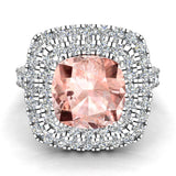 Pink Morganite Cushion Cut Double Halo Diamond engagement rings for women 14K Gold 3.00 ctw (G,SI) - White Gold