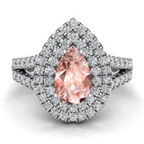 Pear Cut Pink Morganite Double Halo Engagement Ring 14K Gold (I,I1) - White Gold