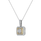 Princess Cut Diamond Cut Cornered Double Halo 2 tone Necklace 14K Gold (G,I1) - Yellow Gold