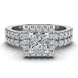 Petite Wedding rings for women Princess Cut halo bridal set 18K Gold 1.55 carat (G, SI) - White Gold