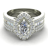 Statement Band Marquise Cut Halo Diamond Engagement Ring Baguettes 1.43 Carat Total 18K Gold (G,SI) - White Gold