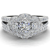 Three Stone Split Shank Wide look  Anniversary Engagement Ring Set Set 18K Gold (G,VS) - White Gold