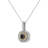 Round Cut Black Diamond Cushion Double Halo 2 tone necklace 14K Gold (G,I1) - Yellow Gold