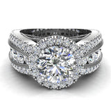 Moissanite Engagement Rings 18K Gold Real Diamond accented Ring Channel Set 4.84 carat tw (G,VS) - White Gold