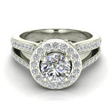 Exquisite Round Diamond Halo Split Shank Engagement Ring 1.35 ctw 14K Gold (I,I1) - White Gold
