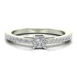 Classic Style Petite Princess Cut Diamond Promise Ring 14K Gold 0.55 Ctw (I,I1) - White Gold