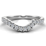 Waves Style Split Shank Diamond Halo Engagement Band 0.27 carat total 14K Gold (I,I1) - White Gold