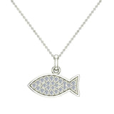 18K Gold Fish Pendant 0.27 ct tw Pave-set Diamond Charm (G,VS) - White Gold