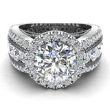 Moissanite Engagement Rings 14K Gold Real Diamond accented Ring Channel Set 4.90 carat tw (G,SI) - White Gold