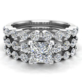 Princess Cut 2.07 Carat Shared-Prong setting Band Wedding Bridal Ring Set 18K Gold (G,VS) - White Gold