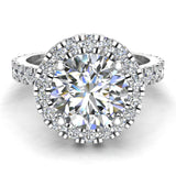 Moissanite Engagement rings 14K Gold Halo Rings for women 3.35 carat (I, I1) - White Gold
