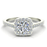 0.90 ct tw Cushion Halo Petit Engagement Ring 14K Gold (I,I1) - White Gold
