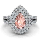 Pear Cut Pink Morganite Double Halo Engagement Ring 18K Gold (G,VS) - White Gold