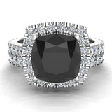 14K Gold Wedding Ring Set for Women Cushion Cut Black Diamond Halo Rings 3.28 carat (G,SI) - White Gold