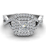 Twists Square Halo Princess Cut Engagement Ring 14K Gold 0.90 Ctw Diamonds (G,I1) - White Gold