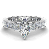 Marquise Cut Center with Princess Eternity Diamond Wedding Ring 14K White Gold (I,I1) - White Gold
