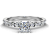 Petite Engagement rings for women Princess Cut diamond ring 18K Gold 0.65 carat (G,SI) - White Gold
