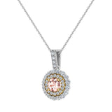 Round Cut Pink Morganite Double Halo 2 tone necklace 14K Gold (G,SI) - Yellow Gold
