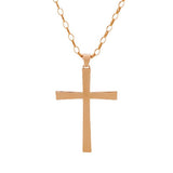 """As Is"" Bronzo Italia Bold Polished Cross Pendant /30"" Rolo Chain"