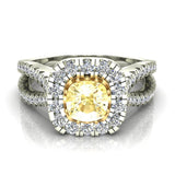 Fancy Yellow Cushion Cut Diamond Rings for Women 18K Gold (G,VS) - White Gold