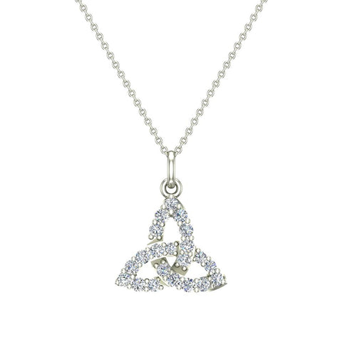 Celtic Knot Charm Necklace 14K Gold 0.24 Ctw (G,I1) - White Gold