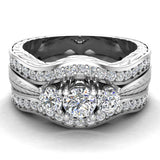 Past Present Future Diamond Wedding Ring Set 14K Gold (G,I1) - White Gold