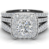 Round Cut Diamond Cushion Halo Split Shank Ring Set  w Enhancer Bands 14K Gold (G,I2) - White Gold