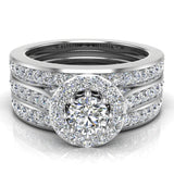 Halo Wedding Ring Set for Women Round Brilliant Diamond Ring 8-prong Enhancer bands 14K Gold 1.40 carat - White Gold