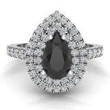 Pear Cut Black Diamond Double Halo Engagement Ring 18K Gold (G,VS) - White Gold