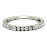 Exquisite Stacking French Pave Set Diamond Wedding Band 0.38 Ctw 14K Solid Gold (I,I1) - White Gold