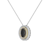 Oval Cut Black Diamond Double Halo 2 tone necklace 14K Gold (G,I1) - Yellow Gold