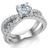 X Cross Split Shank Round Brilliant Diamond Engagement Ring 1.75 carat Total 14K Gold - White Gold