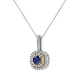 Round Cut Blue Sapphire Cushion Double Halo 2 tone necklace 14K Gold (G,I1) - Yellow Gold