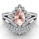 Morganite Engagement Ring - Wedding Ring Set for Women 14K Gold 8 mm Pear Shape (G, I1) - White Gold